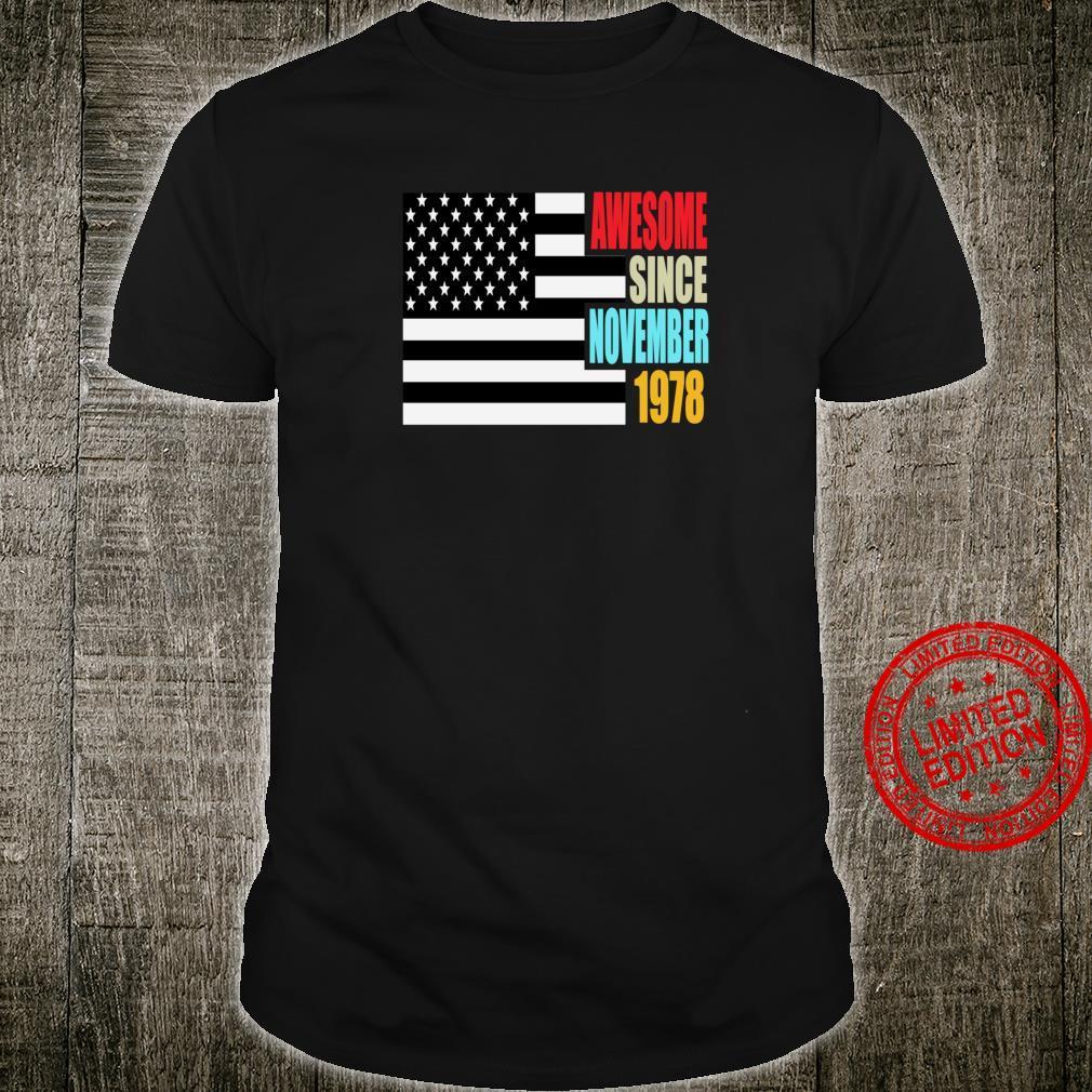 Awesome Since November 1978 Birthday USA Flag Retro Shirt