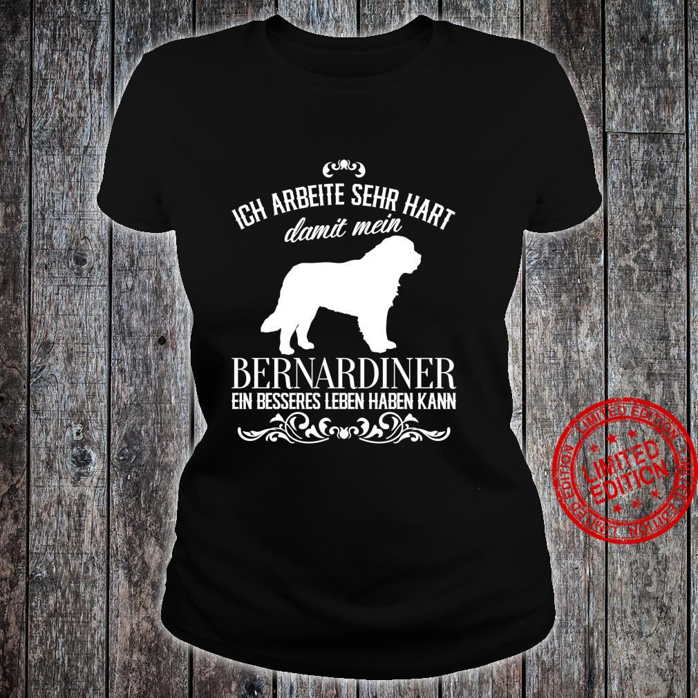 Ich arbeite sehr hart..., Hunde, lustiges Bernhardiner Langarmshirt Shirt ladies tee