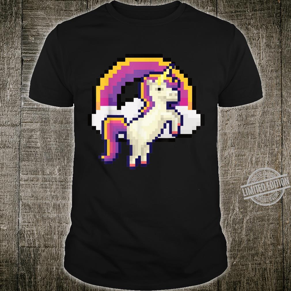 Pixeliges Einhorn mit Regenbogen Pixel 8 bit Gamer Geschenk Shirt