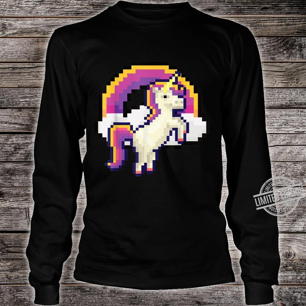 Pixeliges Einhorn mit Regenbogen Pixel 8 bit Gamer Geschenk Shirt long sleeved