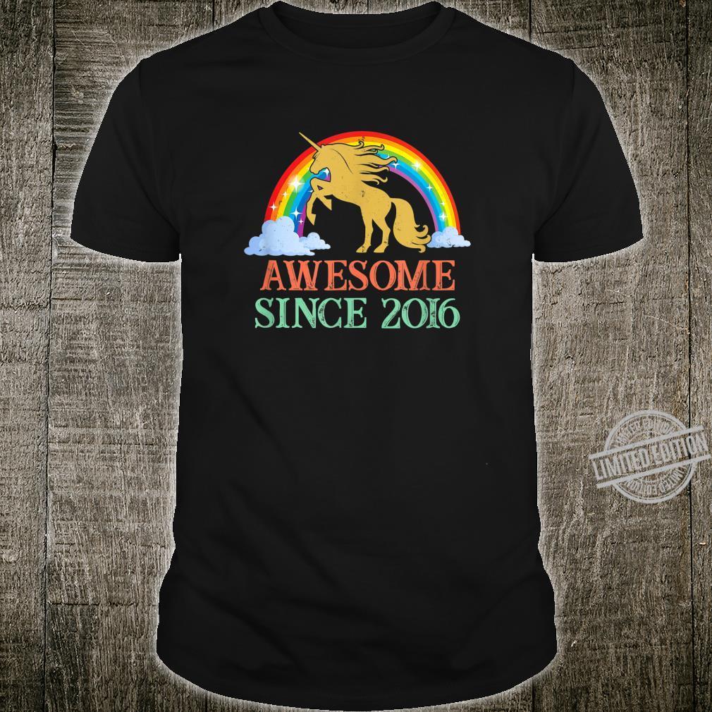 Unicorn 4th Birthday Rainbow 2016 4 Years Old Shirt
